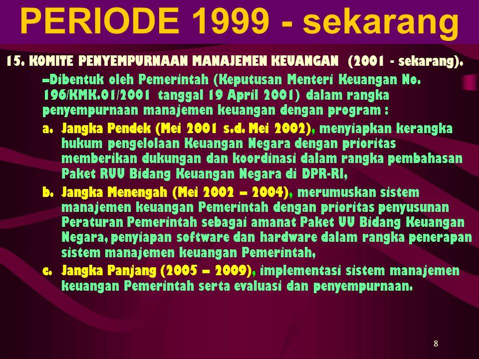 PERIODE 1999 - sekarang 4/6/2017. 15. KOMITE PENYEMPURNAAN MANAJEMEN KEUANGAN (2001 - sekarang).