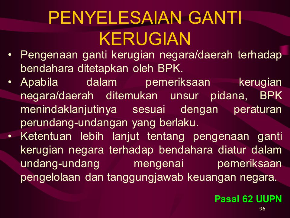 PENYELESAIAN GANTI KERUGIAN