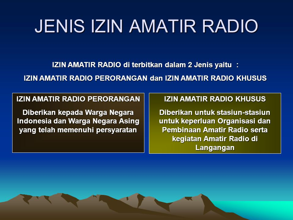 JENIS IZIN AMATIR RADIO
