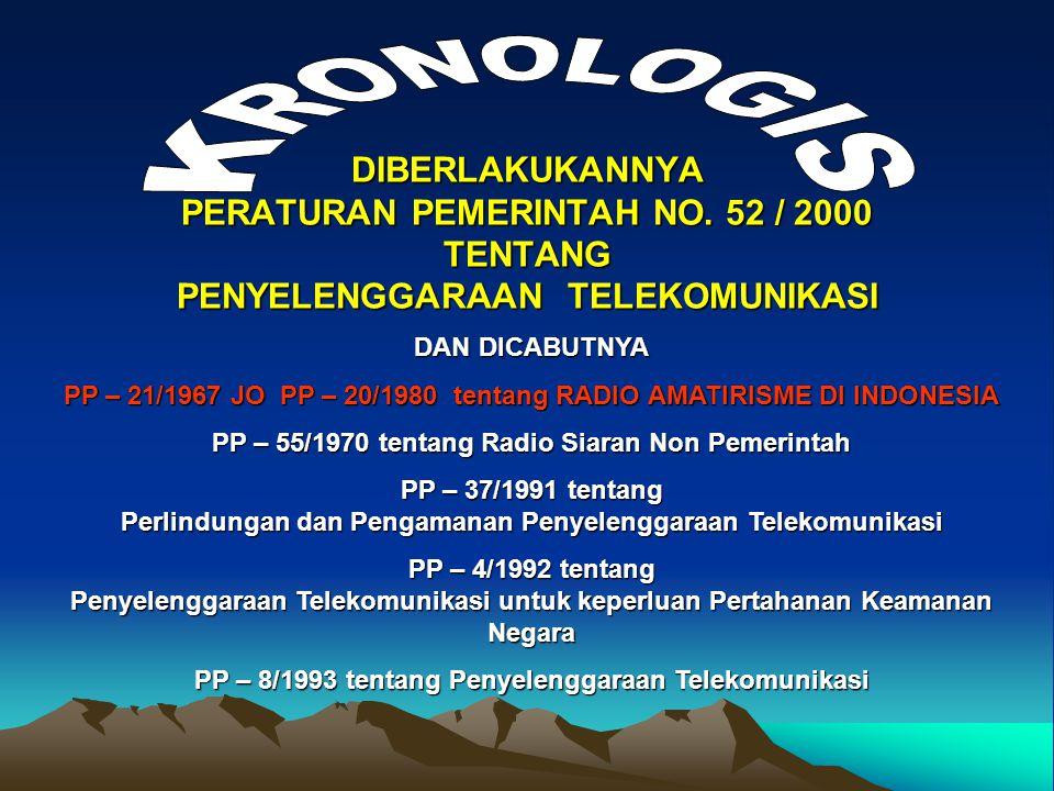 KRONOLOGIS DIBERLAKUKANNYA PERATURAN PEMERINTAH NO. 52 / 2000 TENTANG PENYELENGGARAAN TELEKOMUNIKASI.