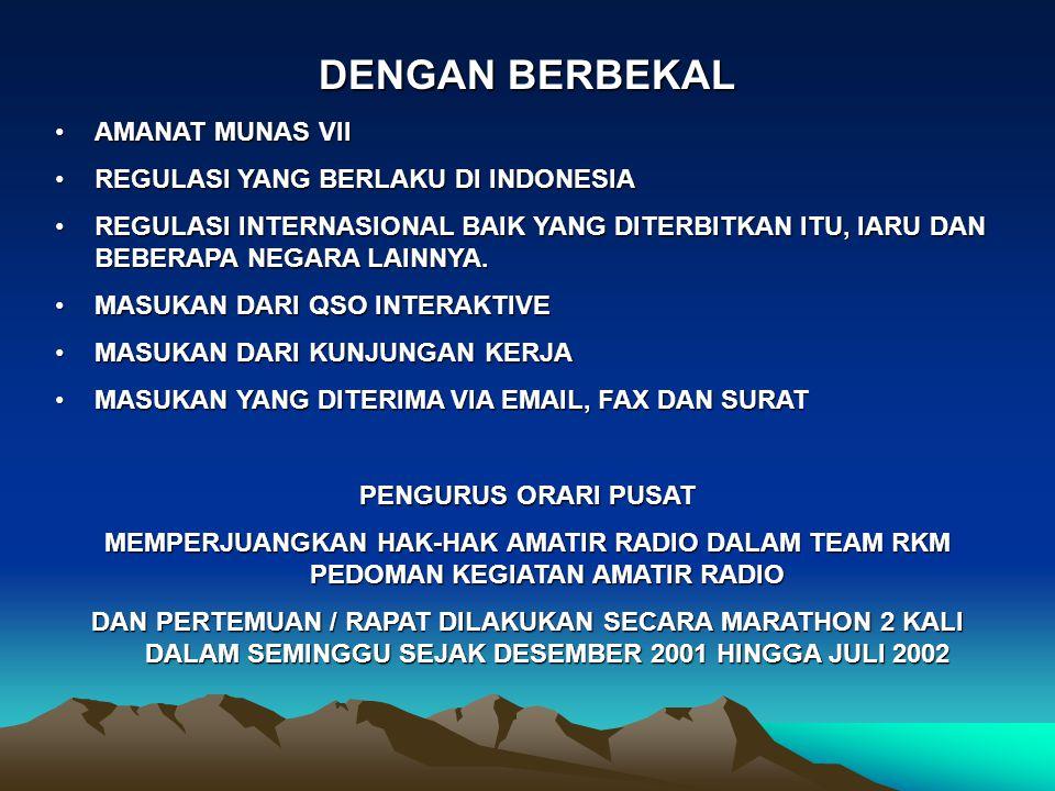 DENGAN BERBEKAL AMANAT MUNAS VII REGULASI YANG BERLAKU DI INDONESIA