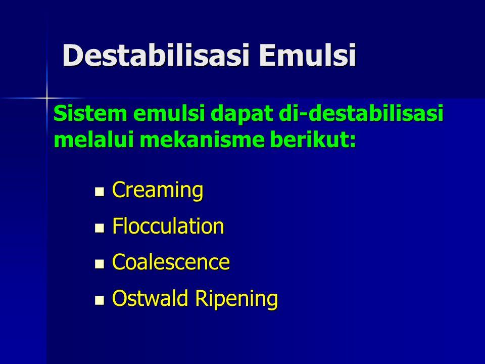 Destabilisasi Emulsi Sistem emulsi dapat di-destabilisasi melalui mekanisme berikut: Creaming. Flocculation.