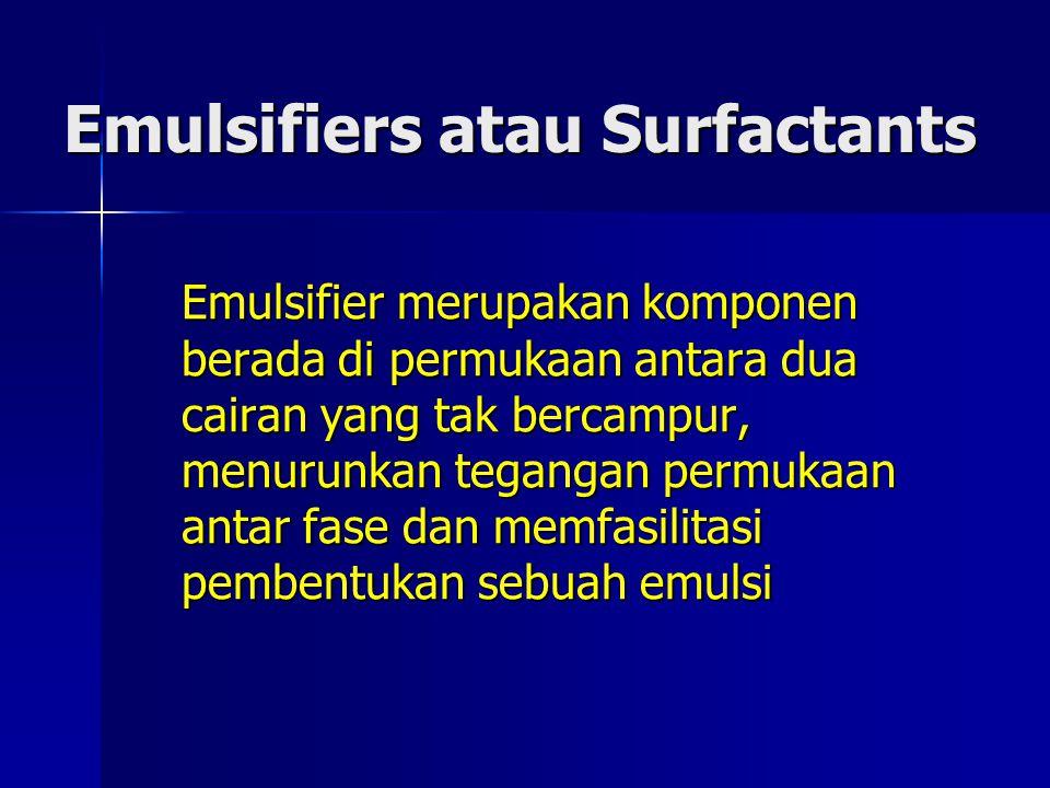 Emulsifiers atau Surfactants