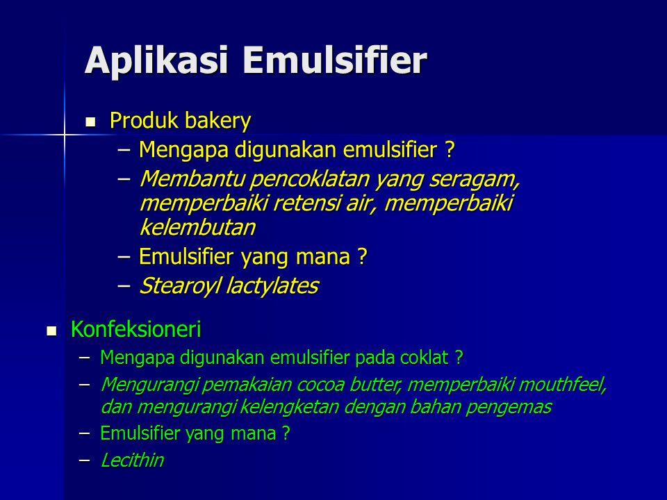 Aplikasi Emulsifier Produk bakery Mengapa digunakan emulsifier
