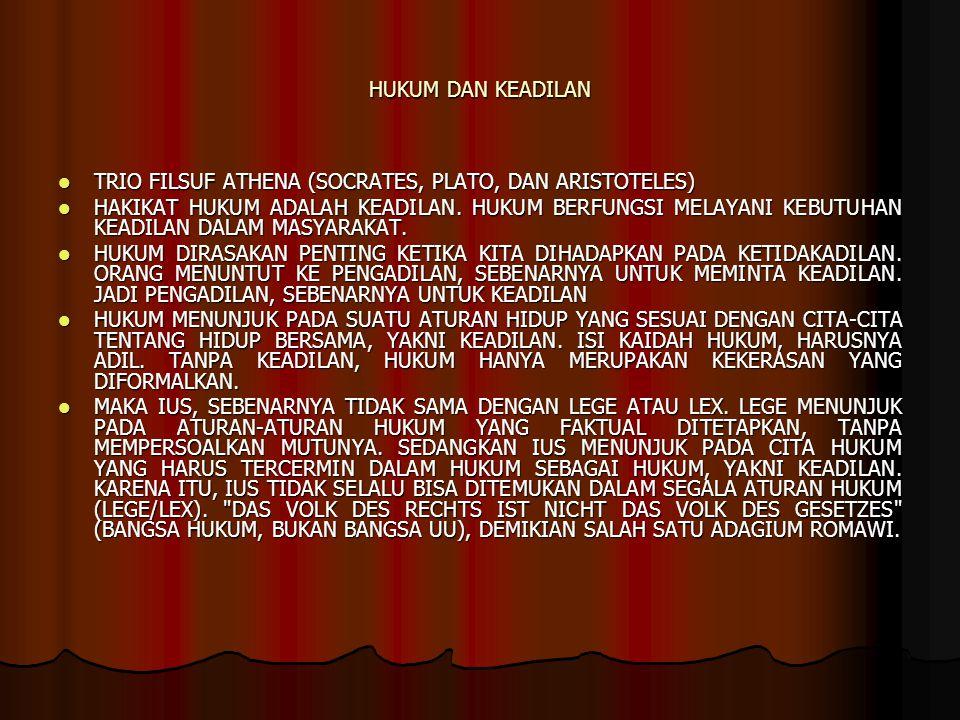 HUKUM DAN KEADILAN TRIO FILSUF ATHENA (SOCRATES, PLATO, DAN ARISTOTELES)