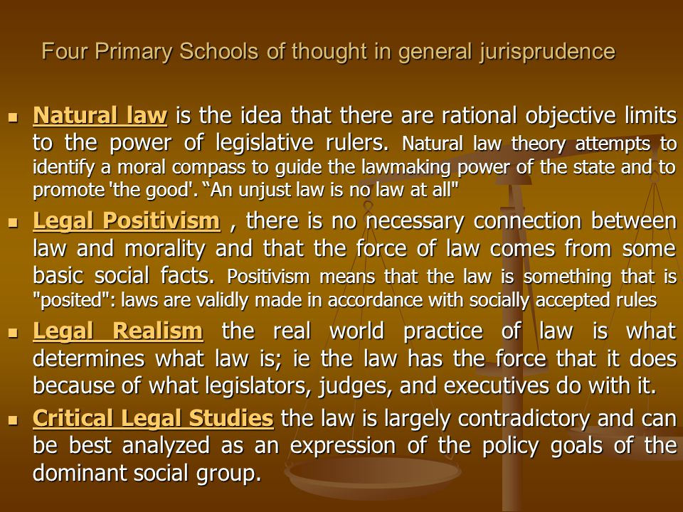 Four Primary Schools of thought in general jurisprudence