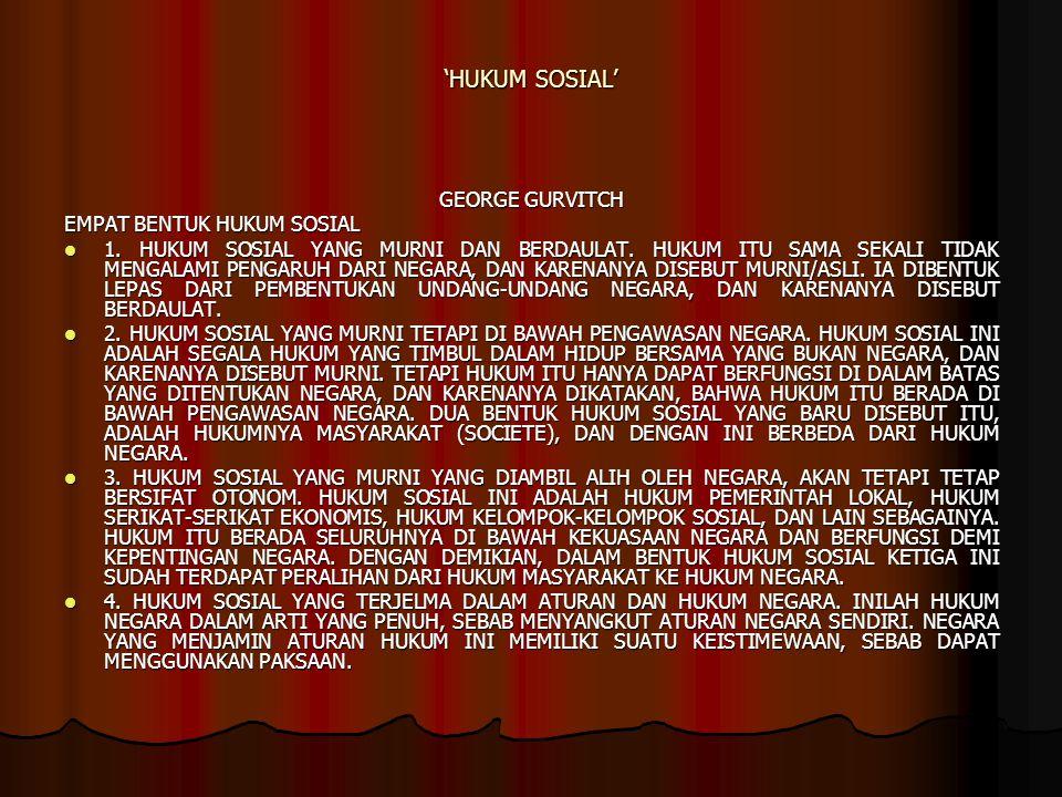 'HUKUM SOSIAL' GEORGE GURVITCH EMPAT BENTUK HUKUM SOSIAL