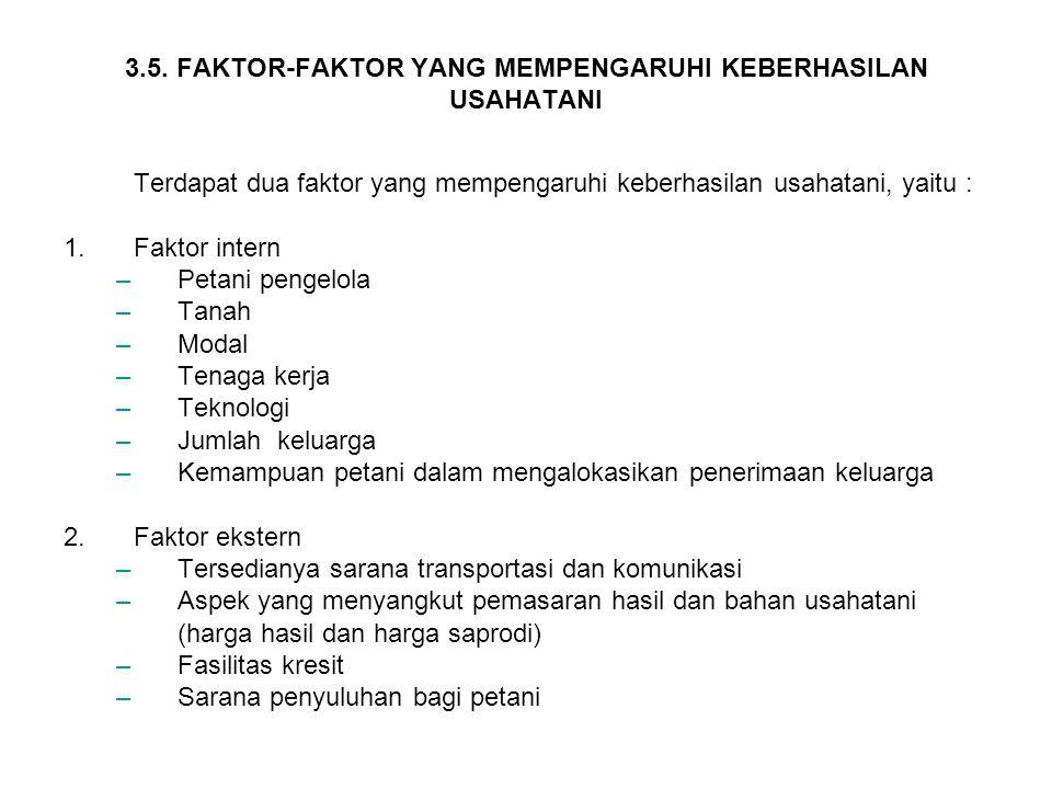 3.5. FAKTOR-FAKTOR YANG MEMPENGARUHI KEBERHASILAN USAHATANI