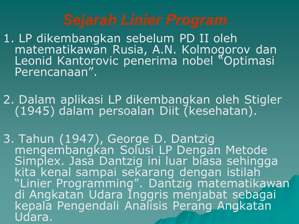 Sejarah Linier Program
