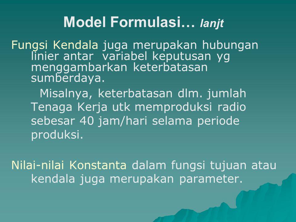 Model Formulasi… lanjt