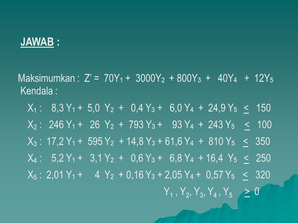 JAWAB : Maksimumkan : Z' = 70Y1 + 3000Y2 + 800Y3 + 40Y4 + 12Y5