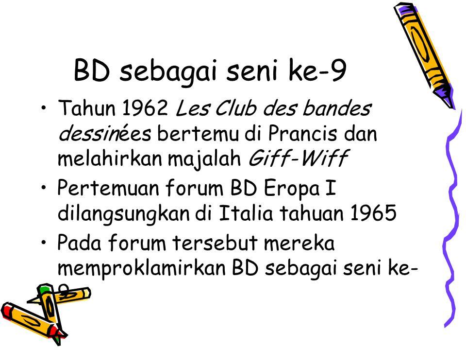 BD sebagai seni ke-9 Tahun 1962 Les Club des bandes dessinées bertemu di Prancis dan melahirkan majalah Giff-Wiff.