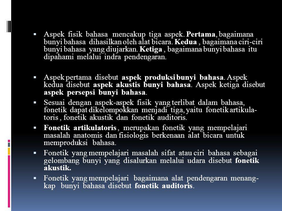 Aspek fisik bahasa mencakup tiga aspek