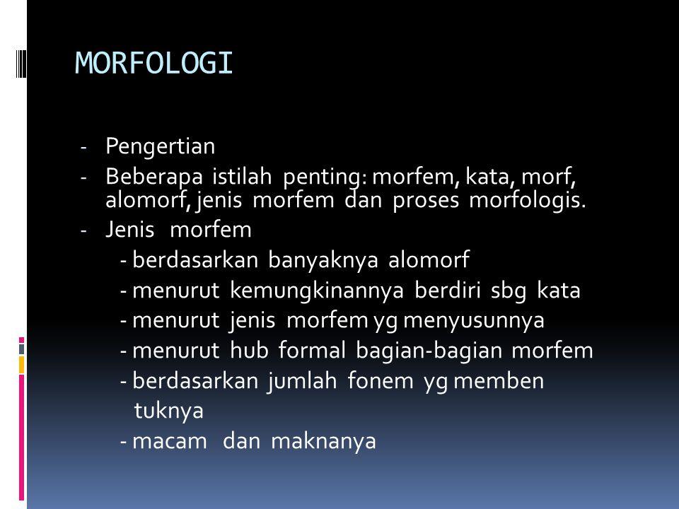 MORFOLOGI Pengertian. Beberapa istilah penting: morfem, kata, morf, alomorf, jenis morfem dan proses morfologis.