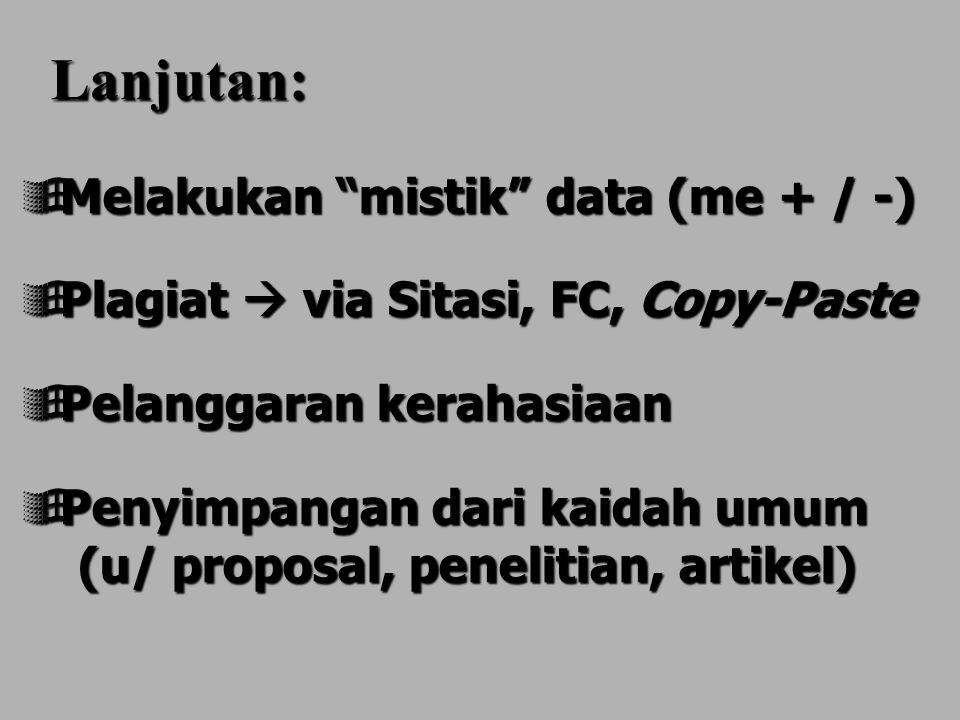 Lanjutan: Melakukan mistik data (me + / -)