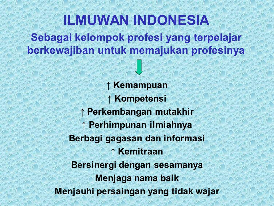 ILMUWAN INDONESIA Sebagai kelompok profesi yang terpelajar berkewajiban untuk memajukan profesinya.