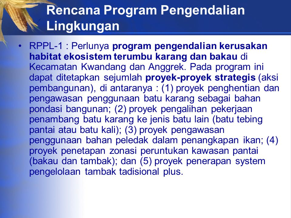 Rencana Program Pengendalian Lingkungan