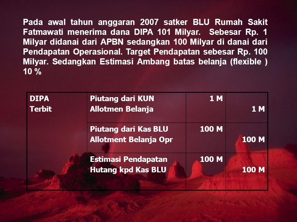 Pada awal tahun anggaran 2007 satker BLU Rumah Sakit Fatmawati menerima dana DIPA 101 Milyar. Sebesar Rp. 1 Milyar didanai dari APBN sedangkan 100 Milyar di danai dari Pendapatan Operasional. Target Pendapatan sebesar Rp. 100 Milyar. Sedangkan Estimasi Ambang batas belanja (flexible ) 10 %