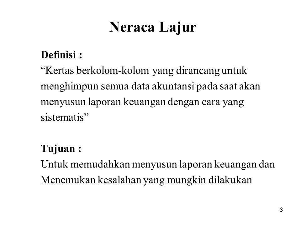 Neraca Lajur Definisi : Kertas berkolom-kolom yang dirancang untuk