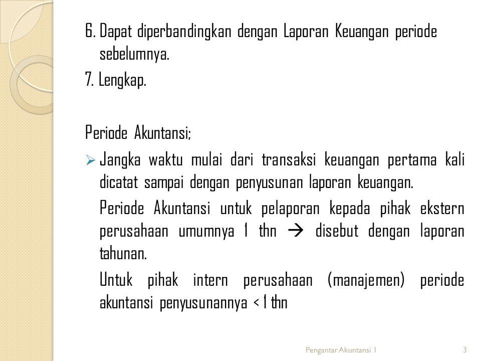 6. Dapat diperbandingkan dengan Laporan Keuangan periode sebelumnya.