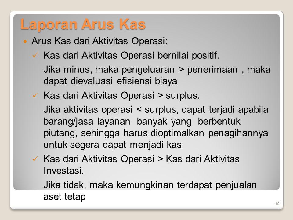 Laporan Arus Kas Arus Kas dari Aktivitas Operasi: