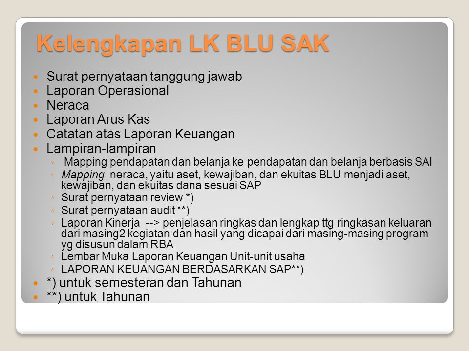 Kelengkapan LK BLU SAK Surat pernyataan tanggung jawab