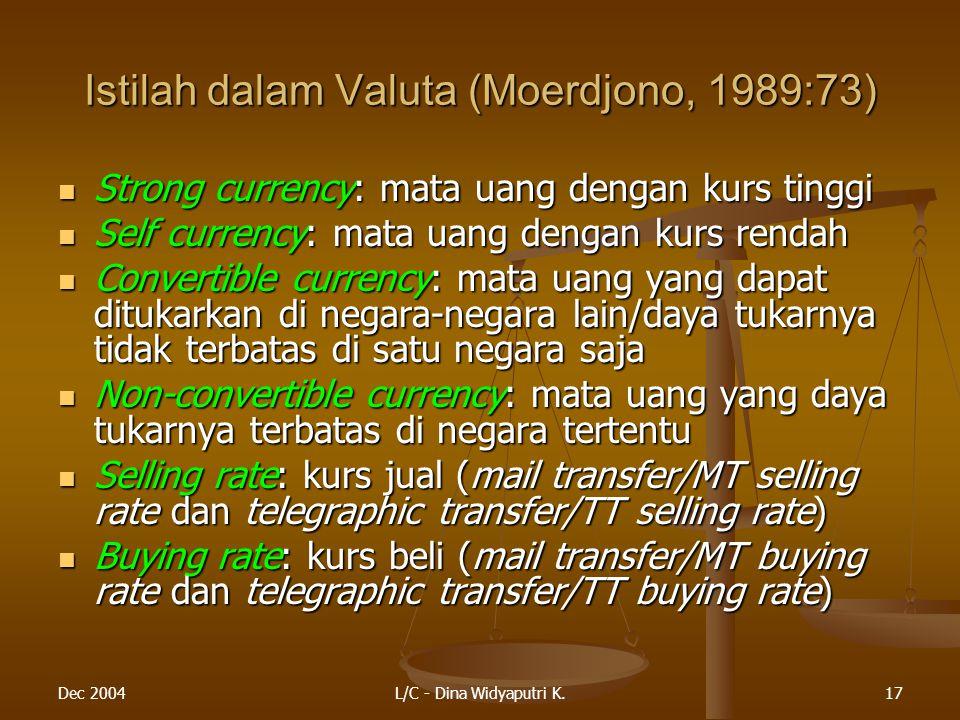 Istilah dalam Valuta (Moerdjono, 1989:73)