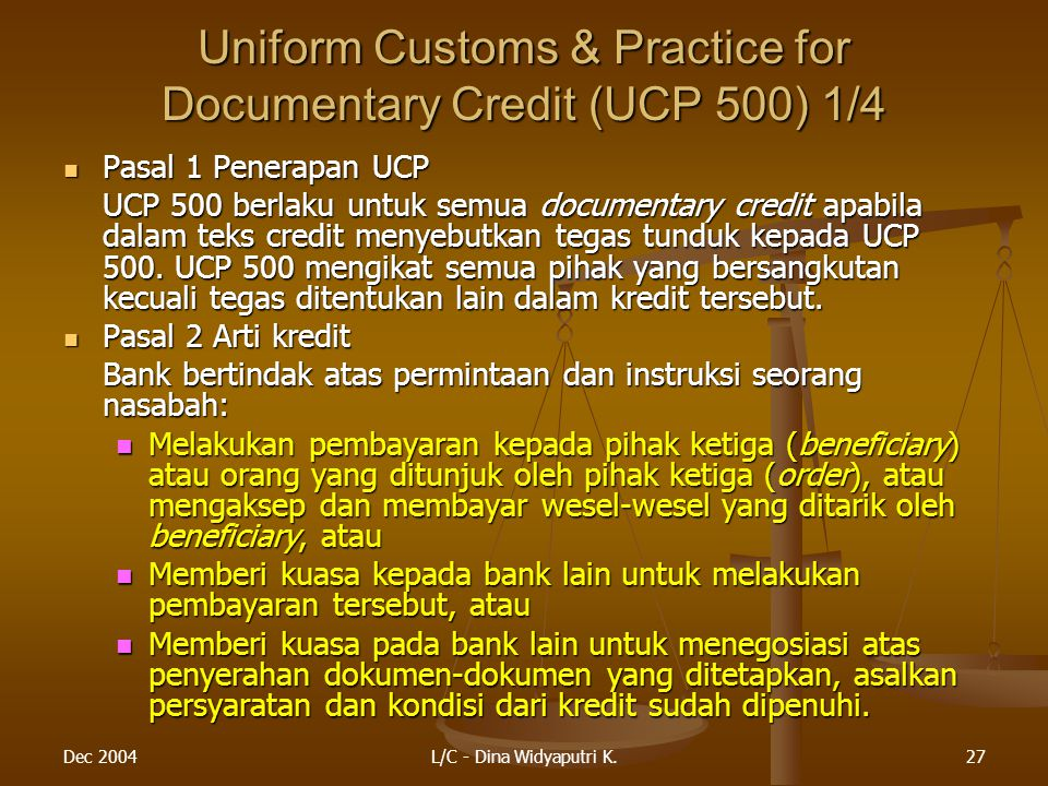 Uniform Customs & Practice for Documentary Credit (UCP 500) 1/4