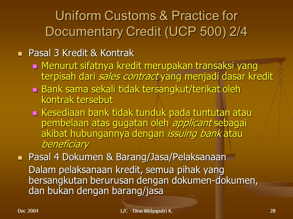 Uniform Customs & Practice for Documentary Credit (UCP 500) 2/4