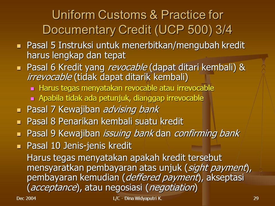 Uniform Customs & Practice for Documentary Credit (UCP 500) 3/4
