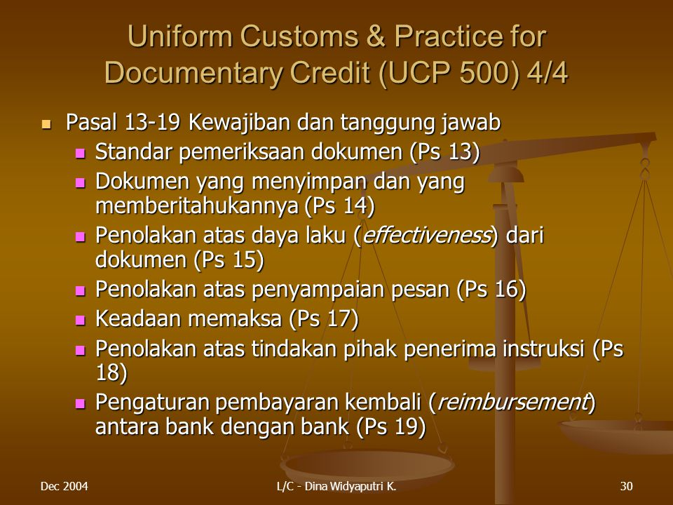 Uniform Customs & Practice for Documentary Credit (UCP 500) 4/4