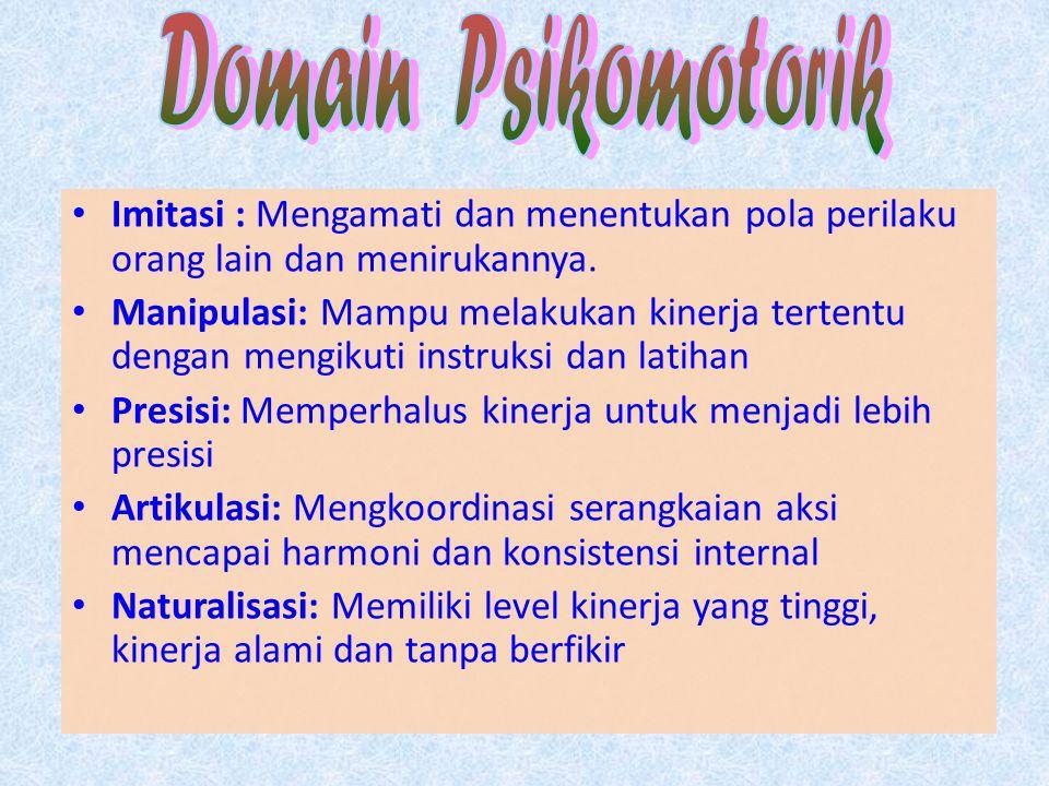 Domain Psikomotorik Imitasi : Mengamati dan menentukan pola perilaku orang lain dan menirukannya.