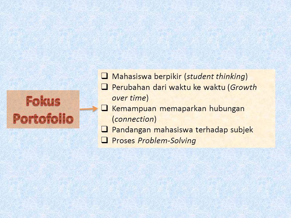 Fokus Portofolio Mahasiswa berpikir (student thinking)