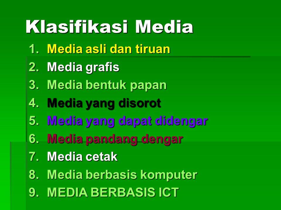 Klasifikasi Media Media asli dan tiruan Media grafis