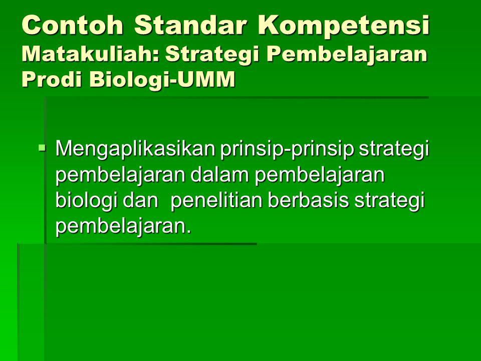 Contoh Standar Kompetensi Matakuliah: Strategi Pembelajaran Prodi Biologi-UMM