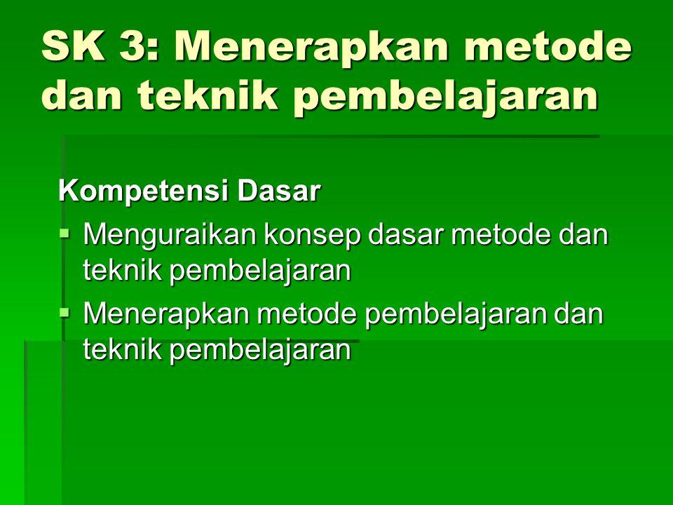 SK 3: Menerapkan metode dan teknik pembelajaran