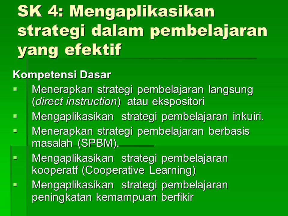SK 4: Mengaplikasikan strategi dalam pembelajaran yang efektif