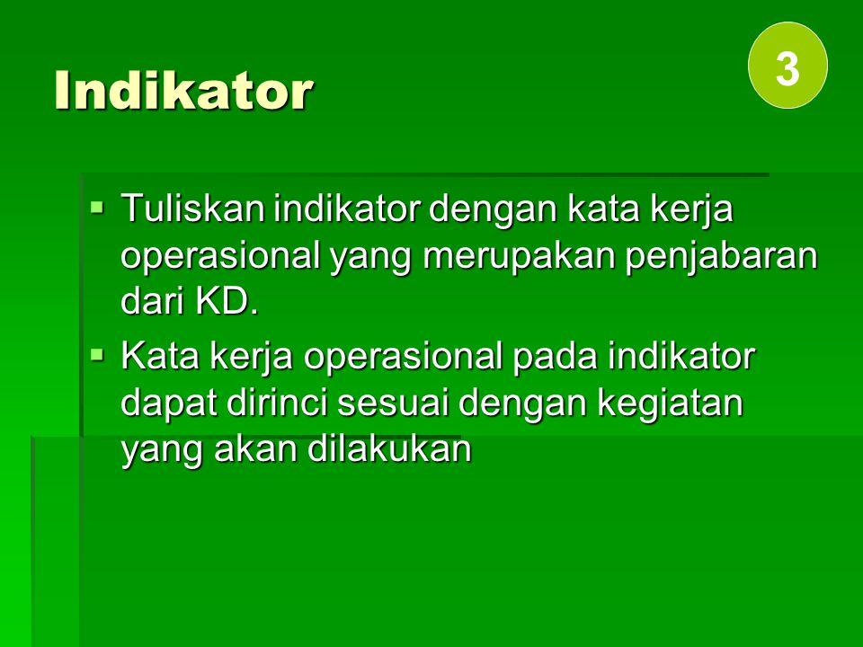 Indikator 3. Tuliskan indikator dengan kata kerja operasional yang merupakan penjabaran dari KD.