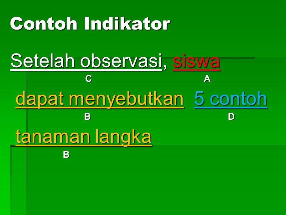 Setelah observasi, siswa dapat menyebutkan 5 contoh tanaman langka