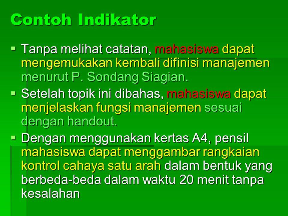 Contoh Indikator Tanpa melihat catatan, mahasiswa dapat mengemukakan kembali difinisi manajemen menurut P. Sondang Siagian.