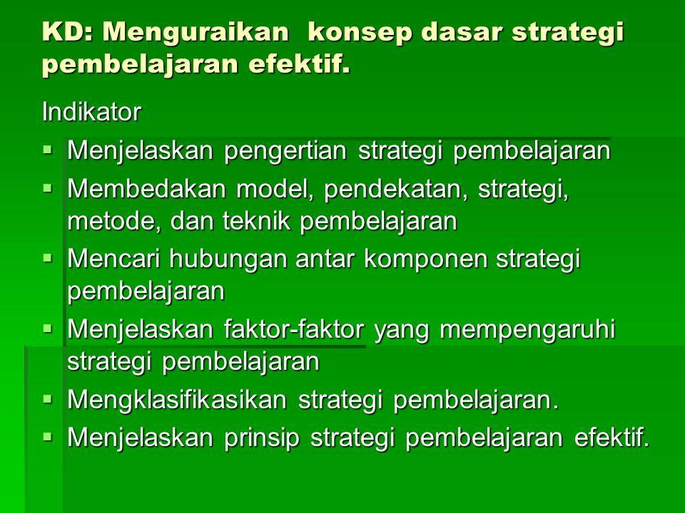 KD: Menguraikan konsep dasar strategi pembelajaran efektif.