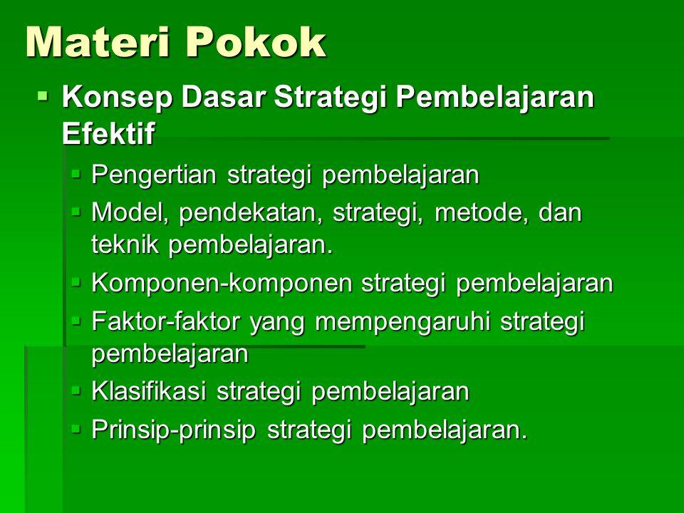 Materi Pokok Konsep Dasar Strategi Pembelajaran Efektif