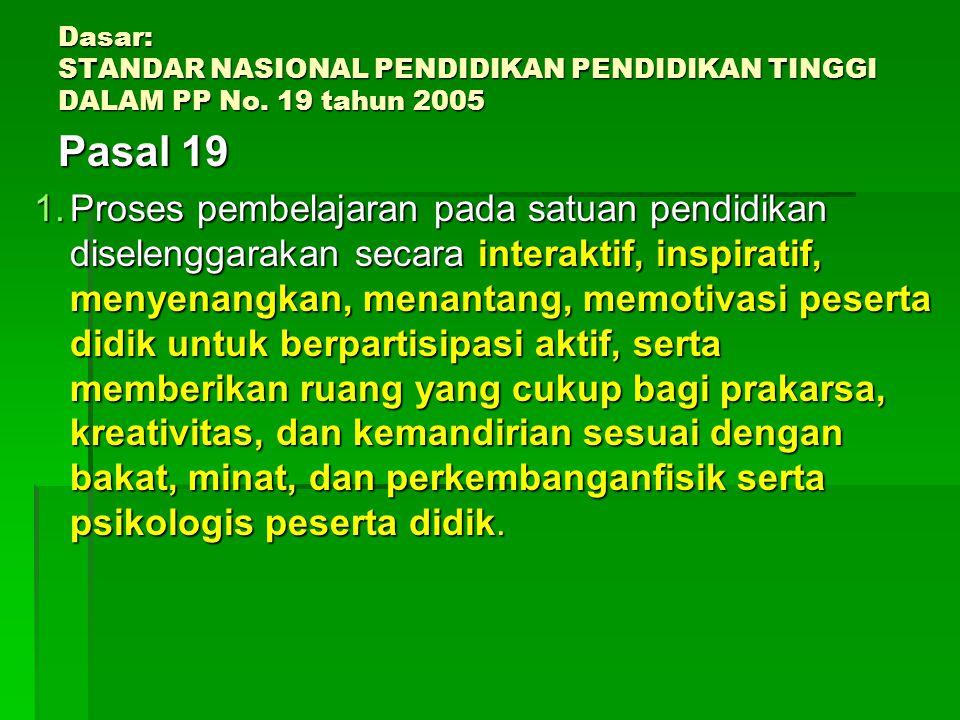 Dasar: STANDAR NASIONAL PENDIDIKAN PENDIDIKAN TINGGI DALAM PP No
