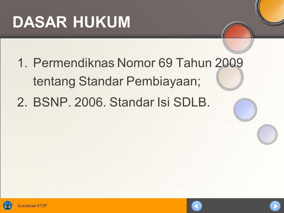 DASAR HUKUM Permendiknas Nomor 69 Tahun 2009 tentang Standar Pembiayaan; BSNP.