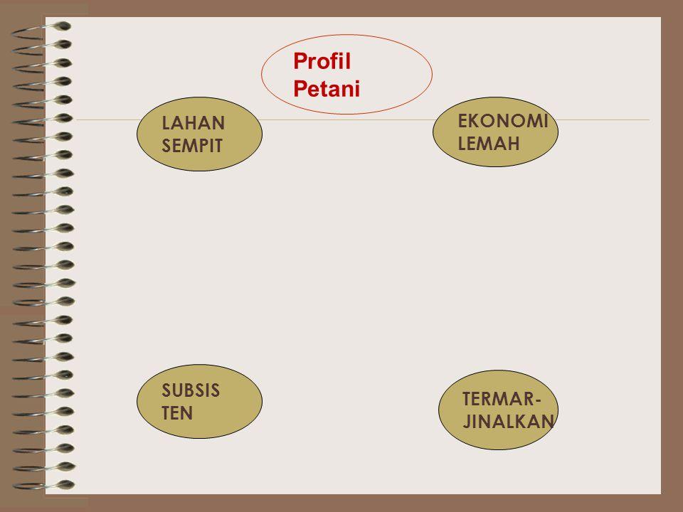 Profil Petani LAHAN SEMPIT EKONOMI LEMAH SUBSIS TEN TERMAR- JINALKAN
