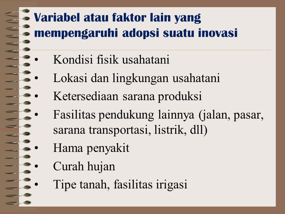 Variabel atau faktor lain yang mempengaruhi adopsi suatu inovasi