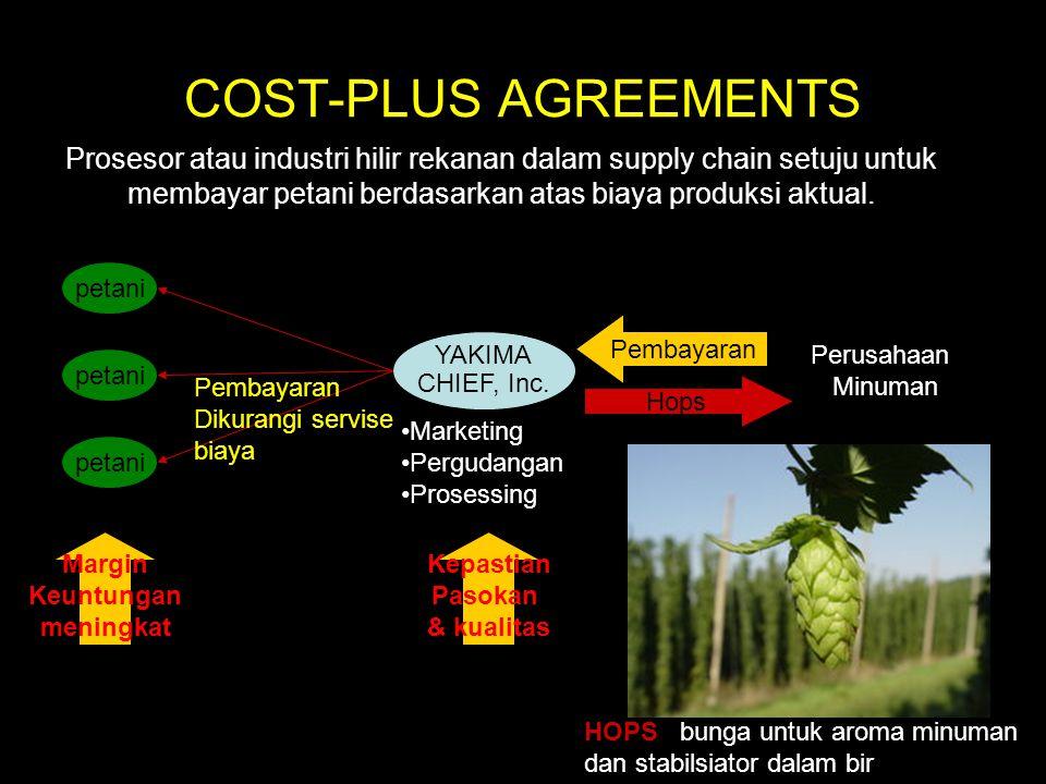 COST-PLUS AGREEMENTS Prosesor atau industri hilir rekanan dalam supply chain setuju untuk membayar petani berdasarkan atas biaya produksi aktual.