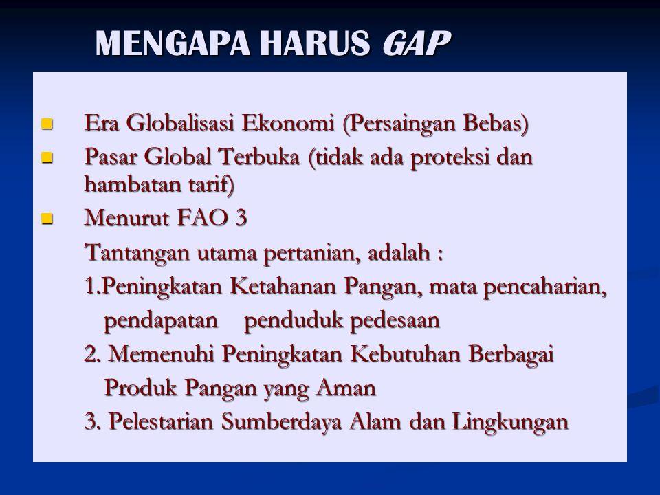 MENGAPA HARUS GAP Era Globalisasi Ekonomi (Persaingan Bebas)