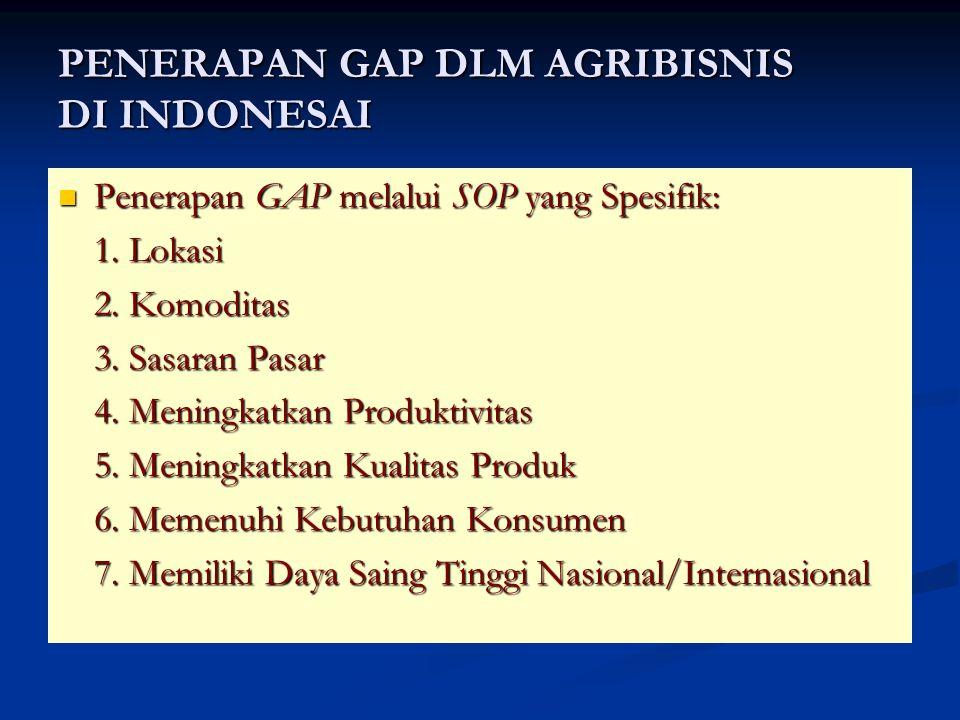 PENERAPAN GAP DLM AGRIBISNIS DI INDONESAI