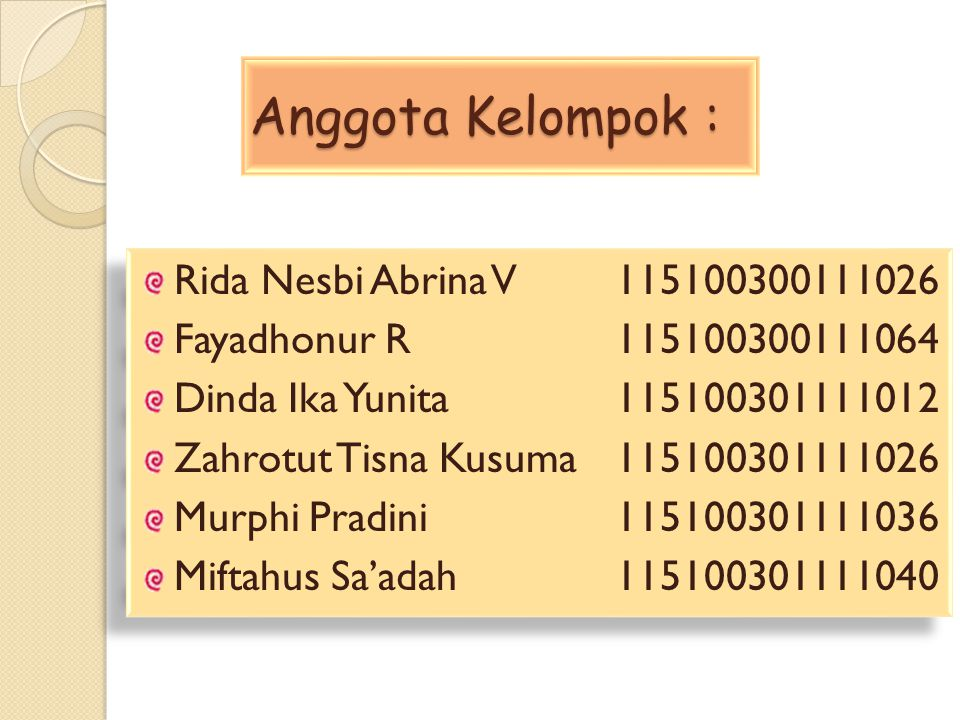 Anggota Kelompok : Rida Nesbi Abrina V 115100300111026